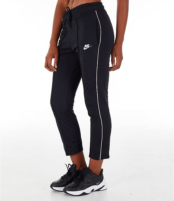Front Three Quarter view of Women's Nike Sportswear Heritage Slim Pants in Black/White