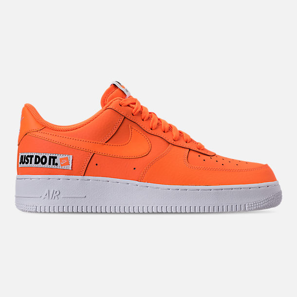 Right view of Men's Nike Air Force 1 '07 LV8 JDI Leather Casual Shoes in Total Orange/White/Black