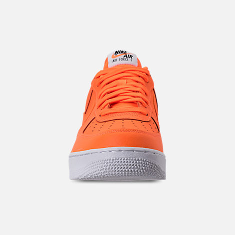 Front view of Men's Nike Air Force 1 '07 LV8 JDI Leather Casual Shoes in Total Orange/White/Black