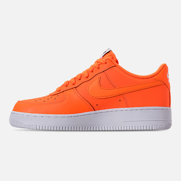 Left view of Men's Nike Air Force 1 '07 LV8 JDI Leather Casual Shoes in Total Orange/White/Black