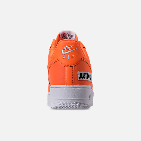Back view of Men's Nike Air Force 1 '07 LV8 JDI Leather Casual Shoes in Total Orange/White/Black