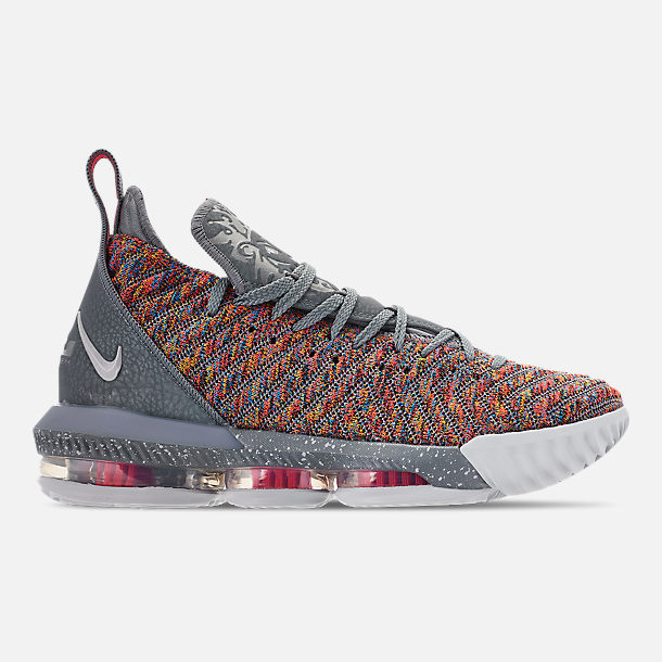 Right view of Men's Nike LeBron 16 Basketball Shoes in Multi-Color/Metallic Silver/Cool Grey