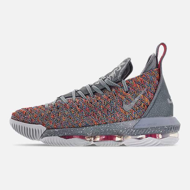 Left view of Men's Nike LeBron 16 Basketball Shoes in Multi-Color/Metallic Silver/Cool Grey
