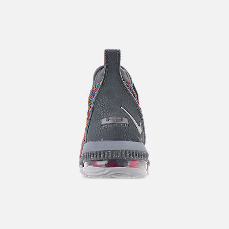 Back view of Men's Nike LeBron 16 Basketball Shoes in Multi-Color/Metallic Silver/Cool Grey