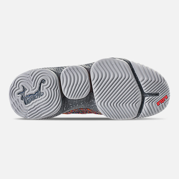 Bottom view of Men's Nike LeBron 16 Basketball Shoes in Multi-Color/Metallic Silver/Cool Grey