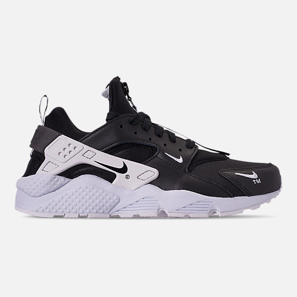 Right view of Men's Nike Huarache Premium Zip Casual Shoes in Black/Black/White