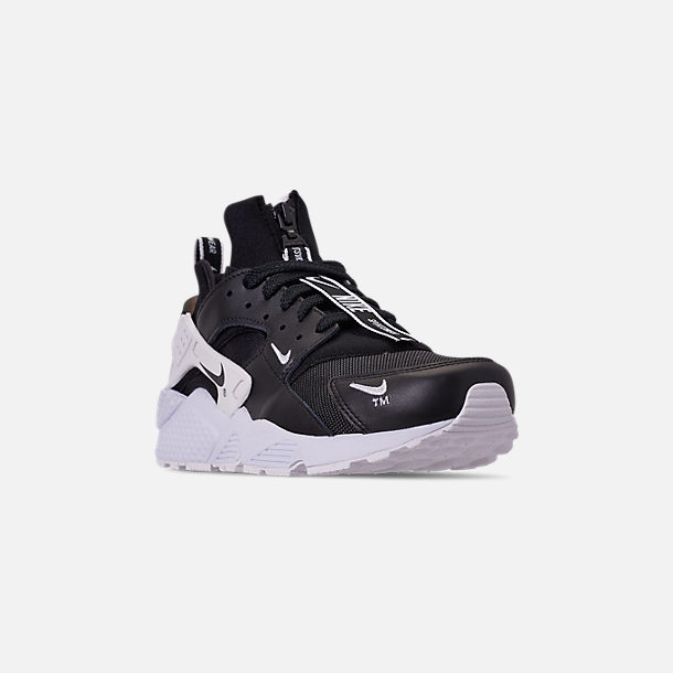 Three Quarter view of Men's Nike Huarache Premium Zip Casual Shoes in Black/Black/White