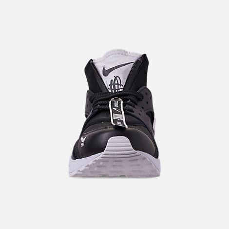 Front view of Men's Nike Huarache Premium Zip Casual Shoes in Black/Black/White
