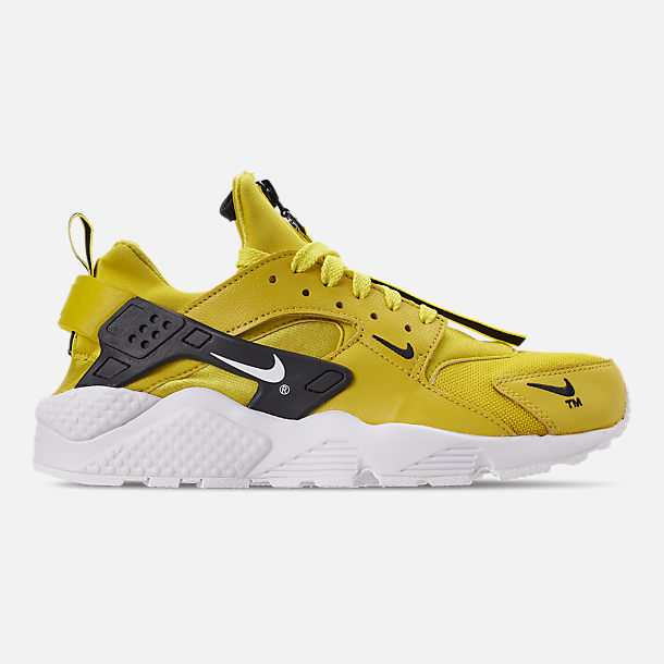 Right view of Men's Nike Huarache Premium Zip Casual Shoes in Bright Citron/White/Black