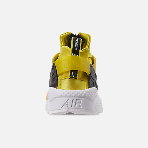 Back view of Men's Nike Huarache Premium Zip Casual Shoes in Bright Citron/White/Black