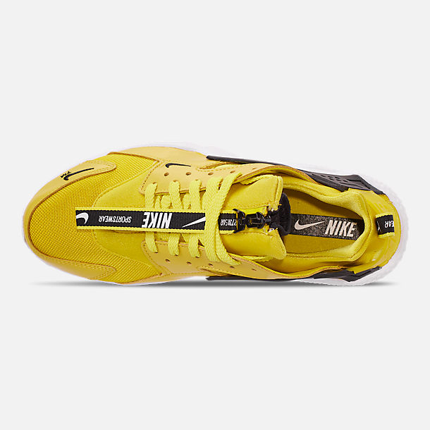 Top view of Men's Nike Huarache Premium Zip Casual Shoes in Bright Citron/White/Black