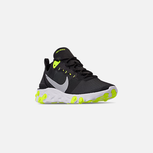 e65995540583f Three Quarter view of Men s Nike React Element 55 Casual Shoes in Black Wolf  Grey