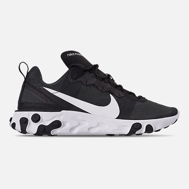 Right view of Men's Nike React Element 55 Casual Shoes in Black/White