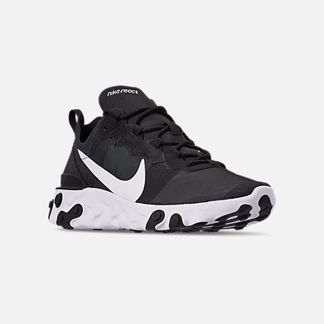 Three Quarter view of Men's Nike React Element 55 Casual Shoes in Black/White