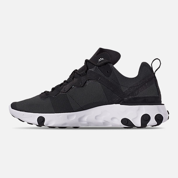 Left view of Men's Nike React Element 55 Casual Shoes in Black/White