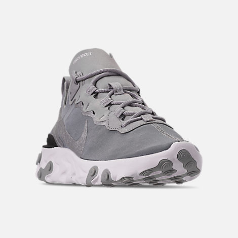 Three Quarter view of Men's Nike React Element 55 Casual Shoes in Metallic Silver/White/Black