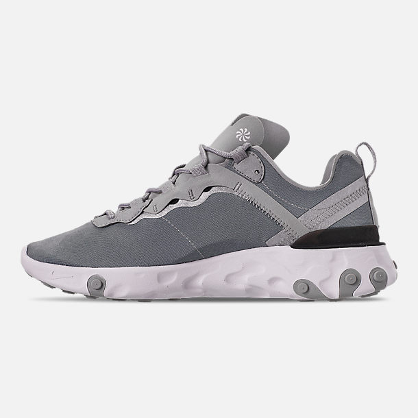 Left view of Men's Nike React Element 55 Casual Shoes in Metallic Silver/White/Black
