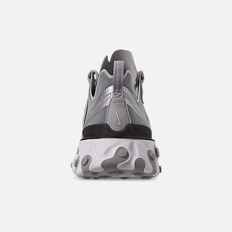 Back view of Men's Nike React Element 55 Casual Shoes in Metallic Silver/White/Black