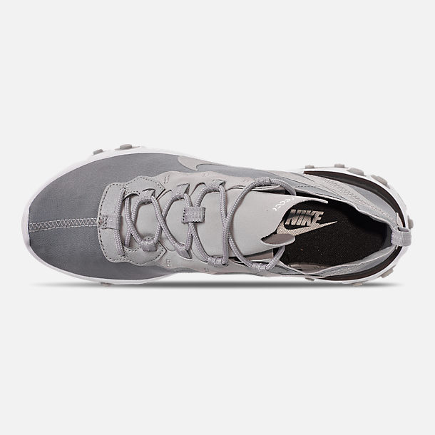 Top view of Men's Nike React Element 55 Casual Shoes in Metallic Silver/White/Black