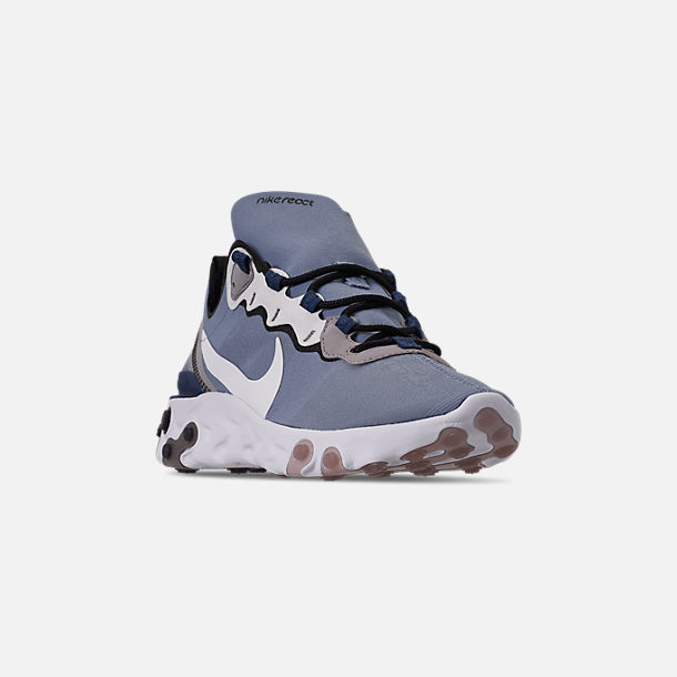 Three Quarter view of Men's Nike React Element 55 Casual Shoes in Indigo Fog/White/Mystic Navy