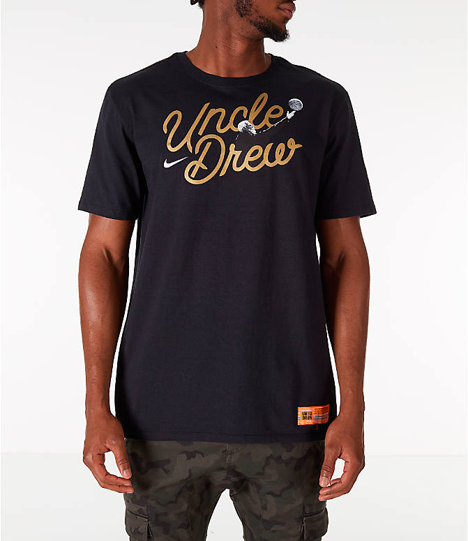 Front view of Men's Nike Kyrie Uncle Drew Script T-Shirt in Black