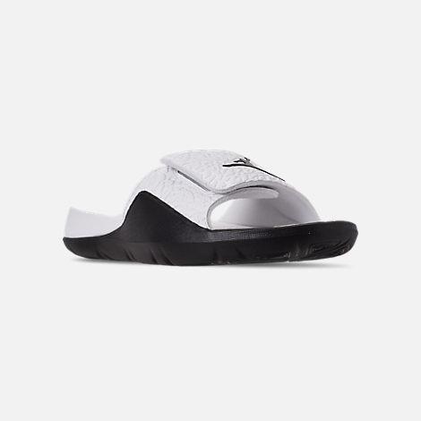 583086fccbe Three Quarter view of Men's Jordan Hydro 7 V2 Slide Sandals in White/Black