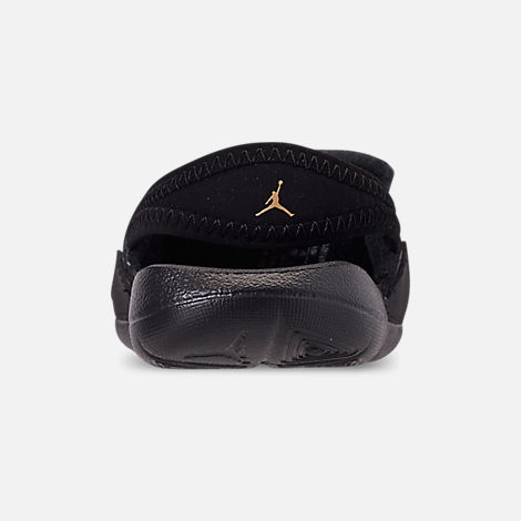 Back view of Boys' Toddler Air Jordan Hydro 7 V2 Slide Sandals in Black/Gold