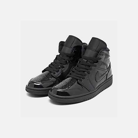 Three Quarter view of Women's Air Jordan 1 Mid SE Casual Shoes in Black/Black/Black