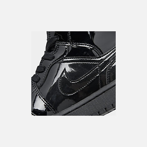 Front view of Women's Air Jordan 1 Mid SE Casual Shoes in Black/Black/Black