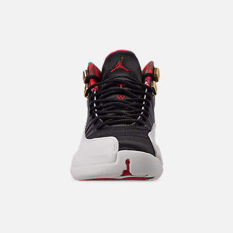 Front view of Big Kids' Air Jordan Retro 12 Chinese New Year Basketball Shoes in Black/Sail/Metallic Gold/Chinese Red