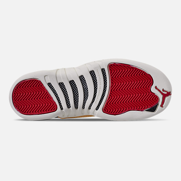 Bottom view of Big Kids' Air Jordan Retro 12 Chinese New Year Basketball Shoes in Black/Sail/Metallic Gold/Chinese Red