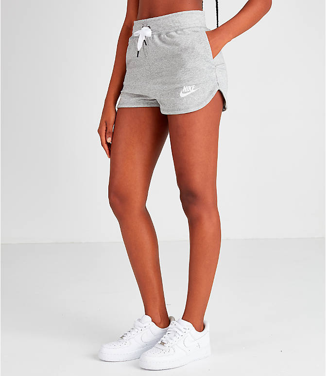 Front Three Quarter view of Women's Nike Air Shorts in Grey