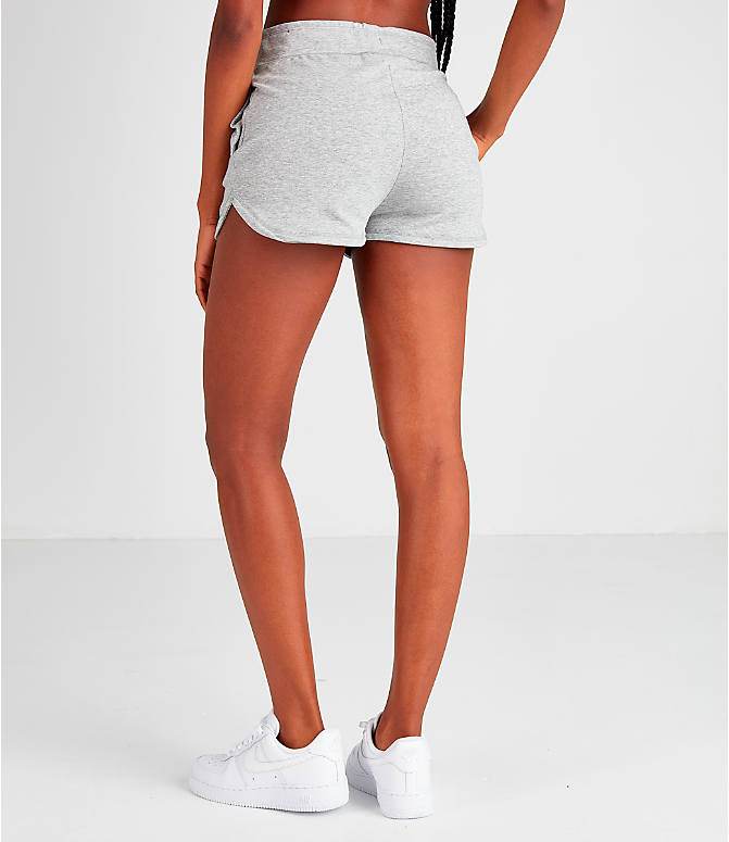 Back Left view of Women's Nike Air Shorts in Grey
