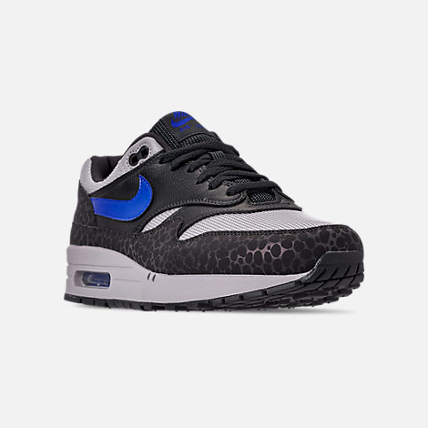 Three Quarter view of Men's Nike Air Max 1 SE Reflective Casual Shoes in Off Noir/Hyper Blue/Thunder Grey