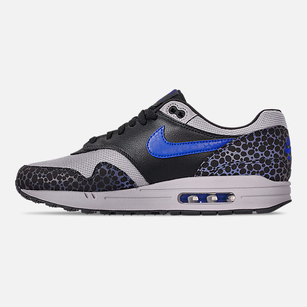 Left view of Men's Nike Air Max 1 SE Reflective Casual Shoes in Off Noir/Hyper Blue/Thunder Grey
