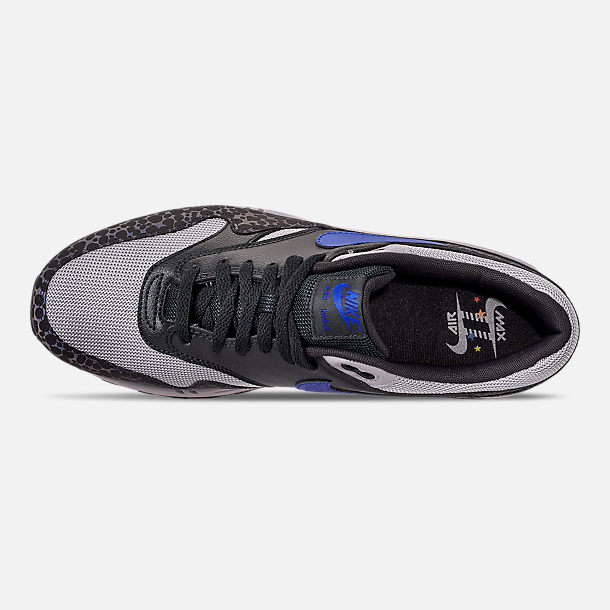Top view of Men's Nike Air Max 1 SE Reflective Casual Shoes in Off Noir/Hyper Blue/Thunder Grey