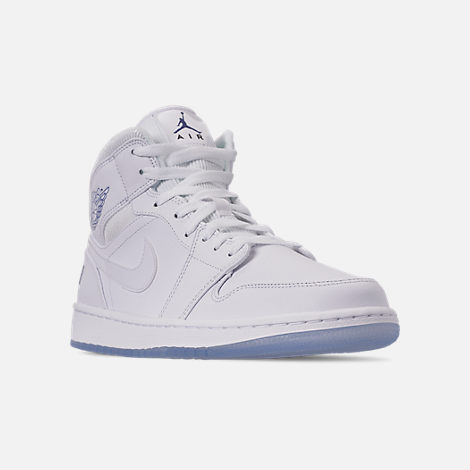 Three Quarter view of Men's Air Jordan 1 Mid Premium Basketball Shoes in White/Concord White