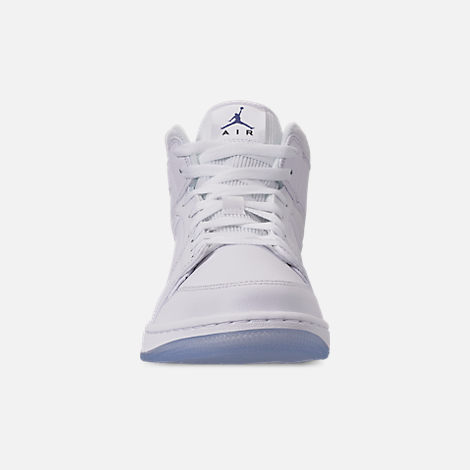 6cd69a2815ea1a Front view of Men s Air Jordan 1 Mid Premium Basketball Shoes in  White Concord White