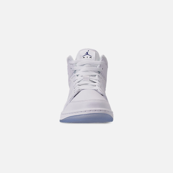 Front view of Men's Air Jordan 1 Mid Premium Basketball Shoes in White/Concord White