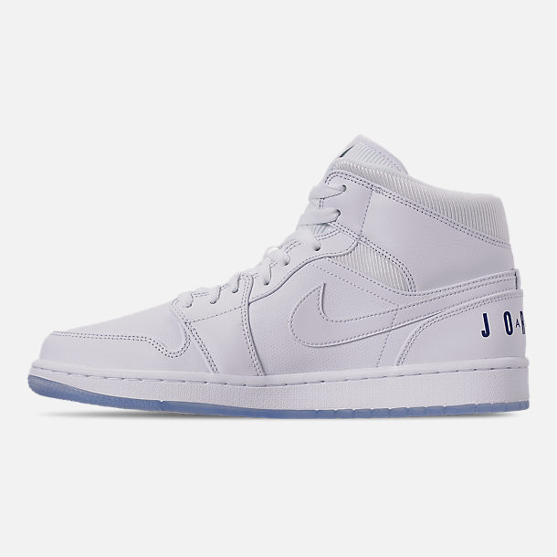 timeless design 98a1d 5f549 Left view of Men s Air Jordan 1 Mid Premium Basketball Shoes in White Concord  White