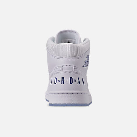 1ba4f88be6a211 Back view of Men s Air Jordan 1 Mid Premium Basketball Shoes in White Concord  White