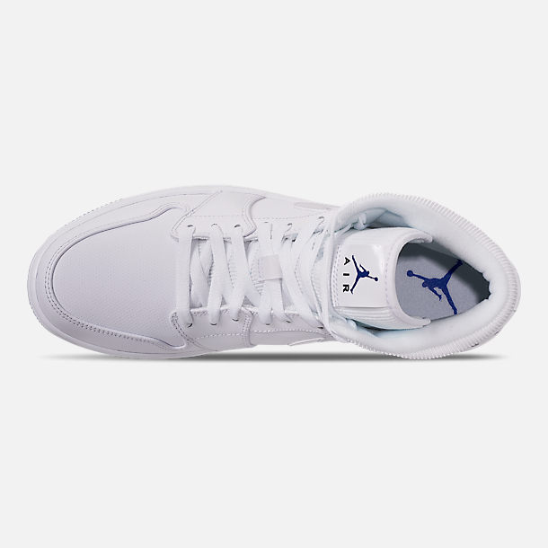 795666214a40a7 Top view of Men s Air Jordan 1 Mid Premium Basketball Shoes in White Concord  White