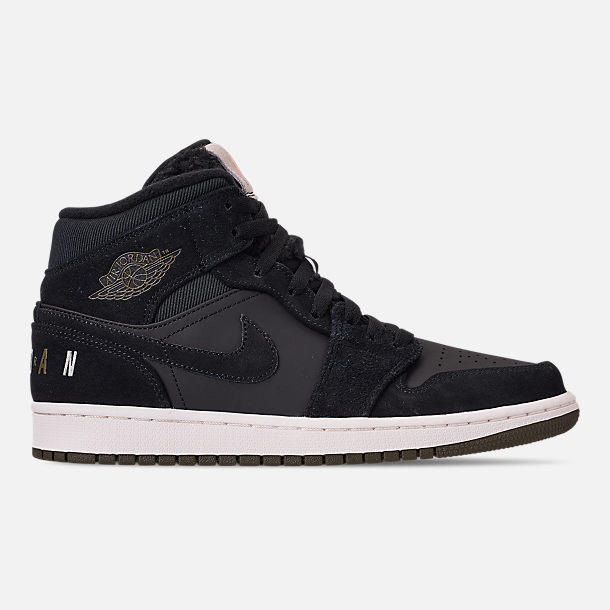 Right view of Men s Air Jordan 1 Mid Premium Fleece Basketball Shoes in  Black Olive 16864cafb