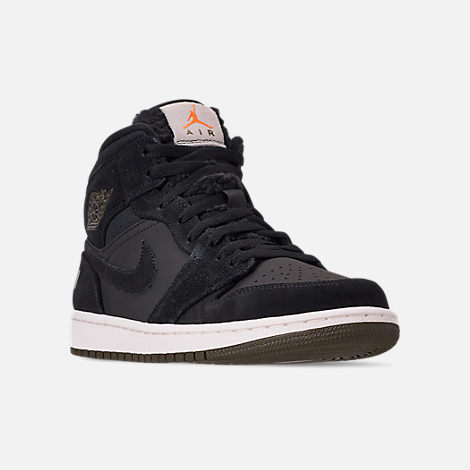 Three Quarter view of Men's Air Jordan 1 Mid Premium Fleece Basketball Shoes in Black/Olive Canvas/Sail/Cone