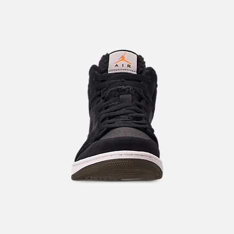 Front view of Men's Air Jordan 1 Mid Premium Fleece Basketball Shoes in Black/Olive Canvas/Sail/Cone