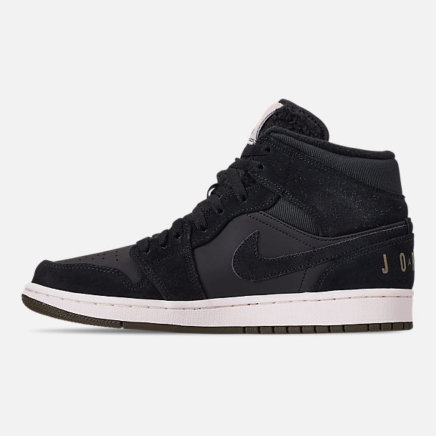 Left view of Men's Air Jordan 1 Mid Premium Fleece Basketball Shoes in Black/Olive Canvas/Sail/Cone