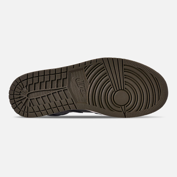 Bottom view of Men's Air Jordan 1 Mid Premium Fleece Basketball Shoes in Black/Olive Canvas/Sail/Cone