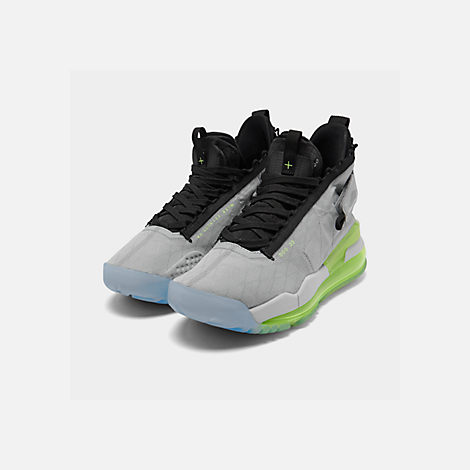 Three Quarter view of Men's Jordan Proto-Max 720 Casual Shoes in Wolf Grey/Black/Volt/Pure Platinum