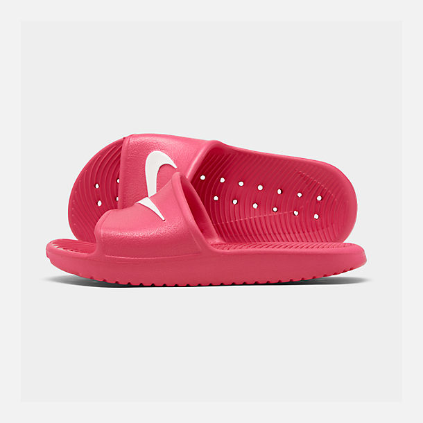 Right view of Girls' Nike Kawa Shower Slide Sandals in Rush Pink
