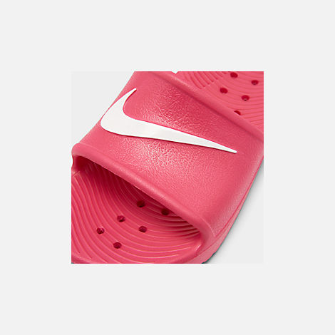 Front view of Girls' Nike Kawa Shower Slide Sandals in Rush Pink